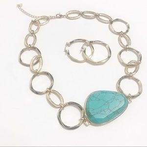Turquoise Stone & Gold Chain link statement set